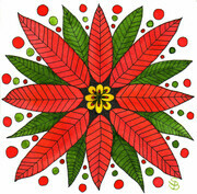 "Poinsettia Mandala - 6"" x 6"" in Watercolour -$40.00"